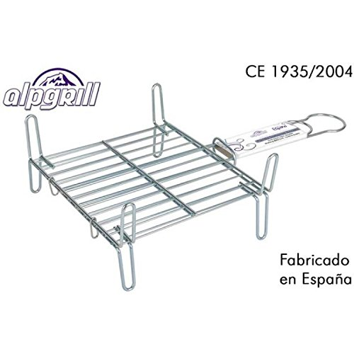 ALPGRILL – Grille barbecue double 25 x 25 cm