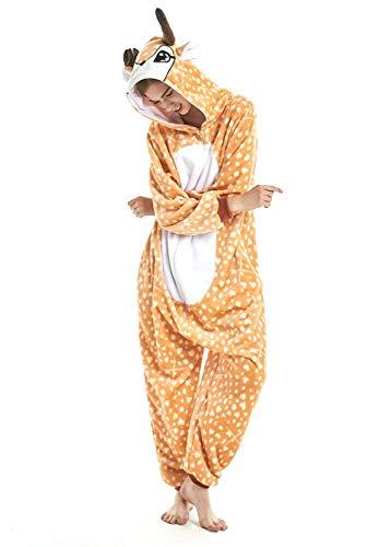 Nndoll pigiama donna animale uomo unicorno cosplay animali costume camicie da notte carnevale halloween (renna, m(155-168cm))