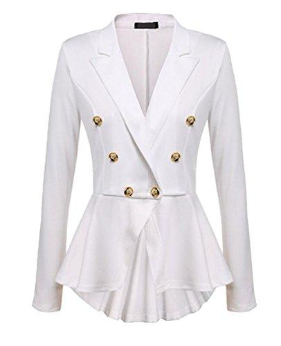 YuanDian Femme Automne Causal Double Breasted Manches Longues Veste Blazer Slim Fit Veste Tailleur Cintrée Habillée Costume Jack