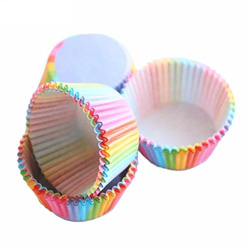 r aus Cupcake Papier, Regenbogen Backförmchen Colorful Muffin Papier Tassen Cupcake Liners für Party, Urlaub, Bankett (Urlaub Cupcake Liner)