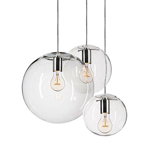 s.LUCE Orb Pendelleuchte Ø 30 cm Klar Pendellampe klassische Glaslampe mundgeblasen sehr elegant, auch für Treppenhaus mit 220cm langem Kabel