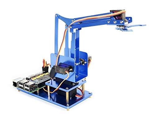 IBest 4-DOF Metal Robot Arm Kit for Raspberry Pi Zero/Zero W/Zero WH/2B/3B/3B+ Starter Robotic Arm with I2C Interface Support Bluetooth/WiFi Remote Control by Phone Remote Interface Kit