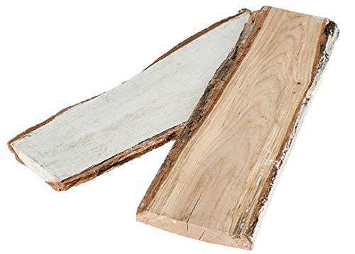 matches21 Holzbretter Eichenbretter Holz Eiche Rinde Schwartenbretter Deko Echtholz weiß gekalkt 1 STK. 35x11x2 cm - 2 Größen