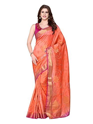 Mimosa Kanjivaram Style Art Silk saree Color Orange (4226-2164-2D-PCH-MEJ)