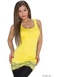 58148f8ff7bebb Damen Tanktop Top Shirt mit Spitze Trägertop Longtop Longshirt Tunika