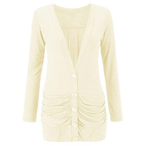 FASHION CHARMING pour femme à manches longues et à boutons Blazer cardigan Boyfriend Poches Casual Jersey Femme Jaune - Crème