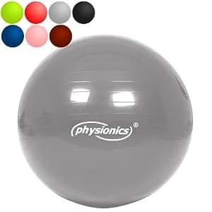 Physionics - Ballon de gymnastique – Ø 65 cm - avec pompe – Silver Star – TAILLE ET COULEUR AU CHOIX