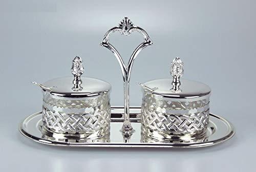 Stockage pots pots de stockage ensemble Argent récipient avec de petites cuillères de 29x15cm Argent