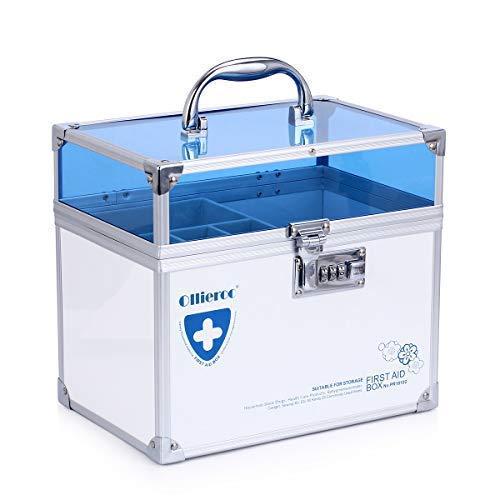 41WcturtFAL - Caja de seguridad para medicamentos con cerradura para el cuidado de la salud, joyería, organizador de armario con combinación - doble capa