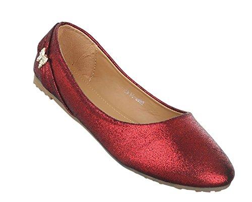 Damen Ballerinas Schuhe Lofers Espadrilles Pumps Rot