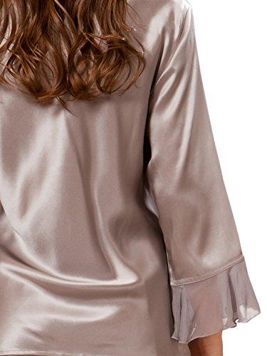 ElleSilk Seide Pajama Set für Frauen, reine Maulbeerseide, Hypoallergen Platin