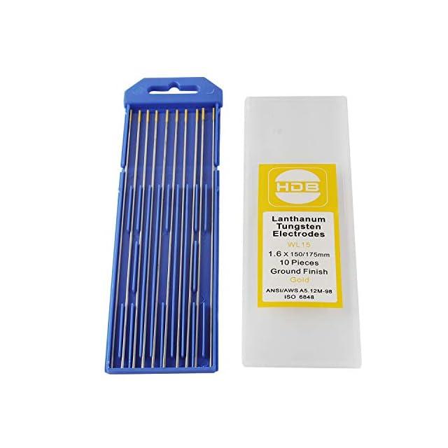2 pcs 2/% de Thorium TEN-HIGH Soudage TIG Emballage mixte 1,6 x150mm,/Électrode en Tungst/ène 2 pcs de Tungst/ène Pur 2 pcs 2/% de Lanthane 2 pcs 2/% de C/érium 2 pcs 1,5/% de Lanthane