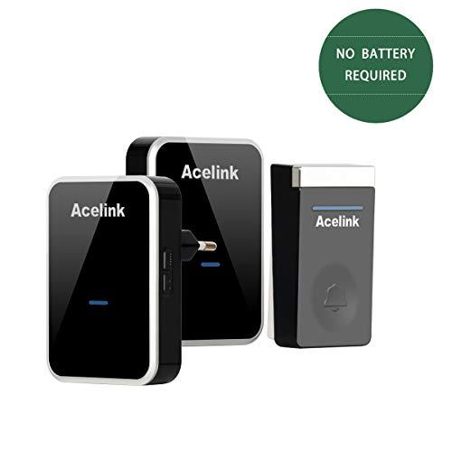 Funkklingel, Acelink Batterielose Funk Türklingel 200m Reichweite Funkklingel mit 2 Empfänger, IP44 Außenbereich Wasserdicht Funkklingel Schwarz