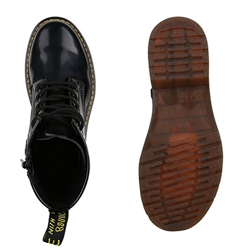 Herren Worker Boots Schwarze Schnürstiefel Outdoor Schuhe Schwarz Glatt