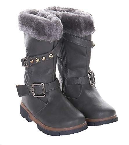 Girls Kids Winter Boot Comfortable Faux Fur Lined Calf Boot with Grip Sole School Shoe Grey Black