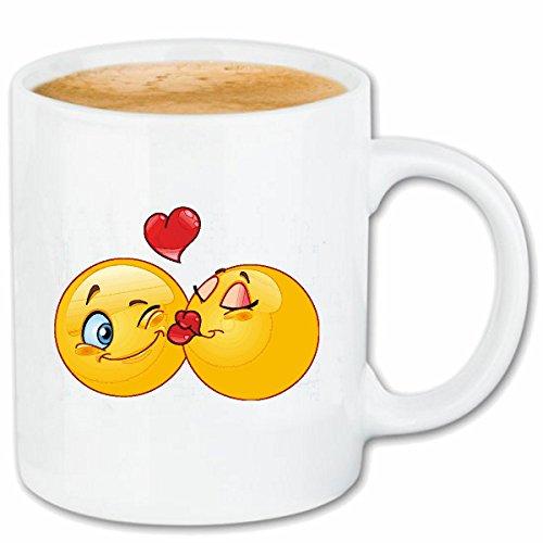 Reifen-Markt Kaffeetasse Zwei IN Sich VERLIEBTE Smileys Smileys Smilies Android iPhone Emoticons IOS GRINSE Gesicht Emoticon APP Keramik 330 ml in Weiß (Das Weiße Gesicht, Reifen)