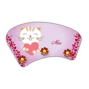 Wand-Garderobe mit Namen Mia und süßem Katzen-Motiv mit Herzen für Mädchen - Garderobe für Kinder - Wandgarderobe