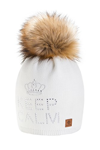 4sold Keep Calm Lady Skullies Bonnets Bonnet fourré hiver pour femme bonnet tricoté avec torsades et gros pompon en fourrure plusieurs coloris taille unique Ecru