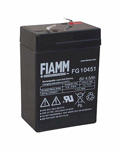 Fiamm - batteria di ricambio al piombo-gel da 6 V, 4,5 Ah, FG10451, per auto elettrica Peq Perego Smoby Diamec Polaris Sportsm