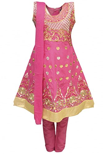 Dress Childrens Billig Fancy (GCS3283 Deep Pink und Burlywood Girl Churidar Anzug Indian Bollywood Fancy Dress 34S (approx 9-10)