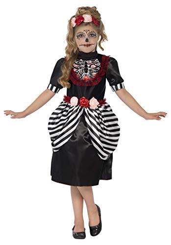 Smiffys, Kinder Mädchen Zuckerschädel Kostüm, Kleid und Rosen-Stirnband, ()