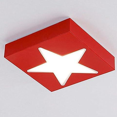 Moderne Minimalisme LED Plafonniers pour Enfants Garçon Chambre, Star Design , Rouge