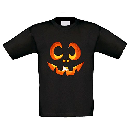 Shirt Department Kinder T-Shirt Kürbisgesicht für die Halloween Party - Kostüm Alternative Kürbis - schwarz 134/146 (Halloween Sport Kostüm Ideen)