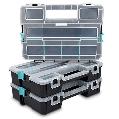 Navaris Organiseur Outils Vide - Boîte à Outil à Empiler - Différentes Tailles - Valise Empilable pour Rangement Multiple avec Cases Modulables