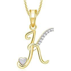MEENAZ Jewellery Gold Plated 'K' Letter Pendant for Girls Women Men Unisex Alphabet Heart Pendant for Women in American Diamond Jewellery Crystal Set for Women- Chain Pendant 333