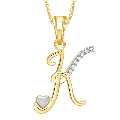 Meenaz 'K' Letter Pendant Locket Gold Plated Alphabet Heart For Men And Women With Chain PS333