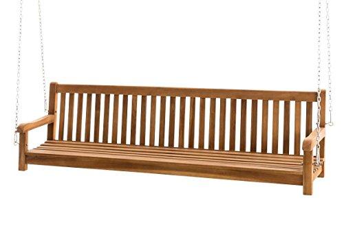 CLP Teakholz Schaukel Sitz-Bank, massiv und wetterfest, Gartenbank zum Aufhängen mit Ketten Modell Calypso, 220 cm
