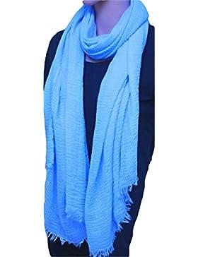 [Patrocinado]FIA MONETTI Estola de bufanda de mujer - azul claro - 180 x 70 cm - Bufanda con fucsias cortas en diferentes colores...