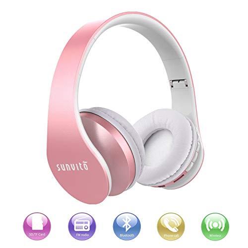 Sunvito Auriculares Bluetooth 4.0 de Diadema Plegable,4 en 1 Estéreo Bass Inalámbrico Auriculares con Reproductor MP3,FM Radio,Auriculares con Cable,Mic Arriba-Oreja para iPhone PC Andriod Oro rosa