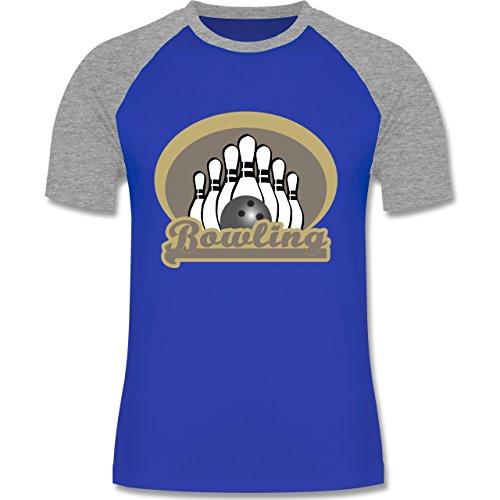 Bowling & Kegeln - Bowling Old School - zweifarbiges Baseballshirt für Männer Royalblau/Grau meliert