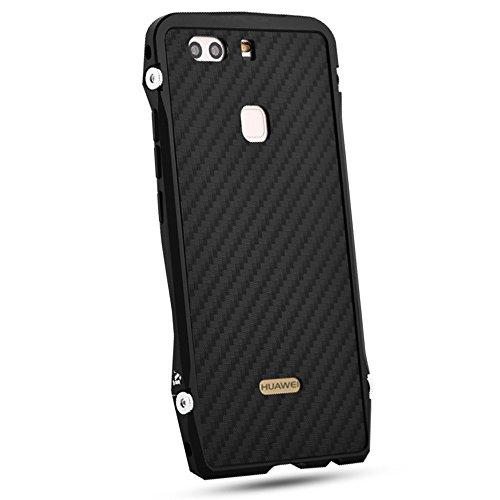 Huawei P9 Handyhülle,Grandcaser [Coupe Series Case] Metall Aluminium Rahmen + Carbon-Faser Back Panel Handytasche Schutzhülle protective Cover für Huawei P9 (2016) - Schwarz