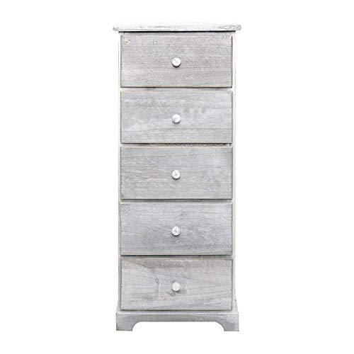 Rebecca Mobili Cajonera de 5 cajones, mueble baño de madera, blanco, estilo shabby, para dormitorio y sala de estar - Medidas: 83,5 x 37 x 27 cm (...