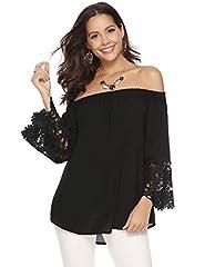 Idea Regalo - Abollria Camicetta Senza Spalline e Arricciatura Donna Maglietta Spalle Scoperte Sexy Blusa Estiva Autunnale