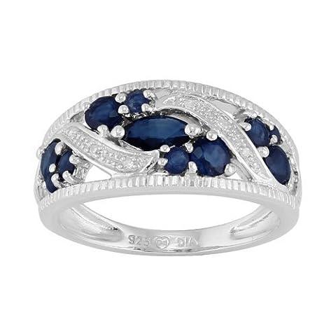 Argent Sterling 1,27 Ct Naturel Saphir Bleu & Diamant Classique Bague Grande Occasion