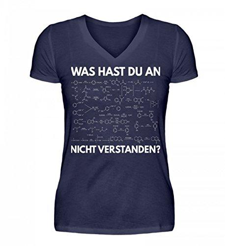 Shirtee Hochwertiges V-Neck Damenshirt - was Hast Du Nicht Verstanden - Chemie - Chemiker - Geschenk - Geschenkidee - Chemikant