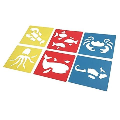 MagiDeal Set De 6 Pcs Stencils Règle à Dessin Animé Pochoirs Pour Enfants DIY Artisanat 14x15cm - Créature Marine