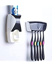 RYLAN Automatic Toothpaste Dispenser and 5 Toothbrush Holder for Home Bathroom, Toothbrush Holder Wall Mounted, Toothpaste Holder with Brush Holder, Toothpaste Dispenser with Toothbrush Holder.