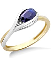 Miore Ladies 9ct Two Tone Gold Sapphire Ring