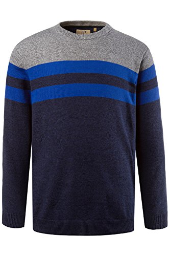 JP 1880 Herren große Größen | Pullover mit blauen Streifen | 100 % Baumwolle | Sweater in schwarz & grau | Regular Fit | Rundhalsausschnitt & Langarm | Bis Größe 7 XL | 708270 Multicolor