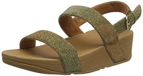 Gold-strap Sandalen (FitFlop Damen Lottie Glitzy Back Strap Peeptoe Sandalen, Artisan Gold 667, 37 EU)