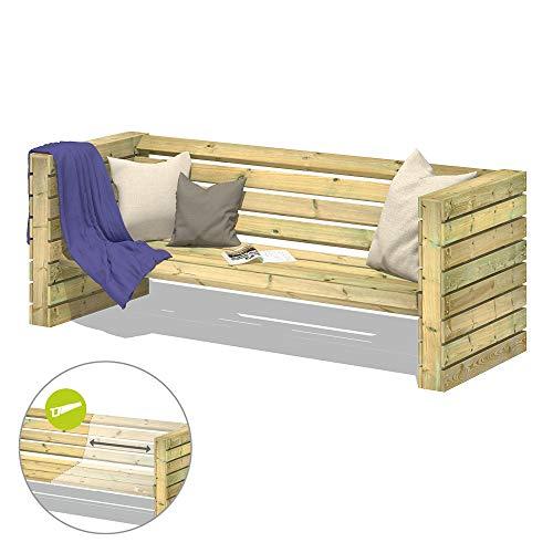 FATMOOSE Gartenbank Sitzbank ChillyWilly TwoTwenty Garten Holzbank Holz Lounge-Set 220x80x80cm