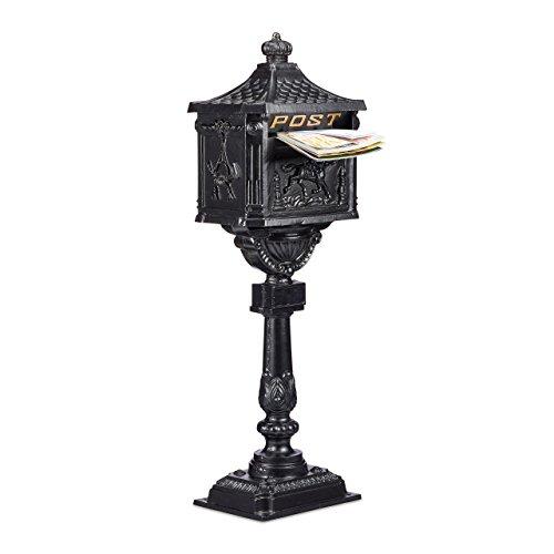 Relaxdays Standbriefkasten antik, freistehend, britischer Stil, Post-Motive, Standfuß, Aluminium, HBT 114x41x28, schwarz (Frei Stehende Box)