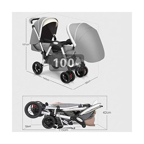 LjfⓇHot Mom Baby Carriage Twins Pushchair can sit down and fold babies face to face Trolley Double Double Reclining can sit down and fold up LjfⓇ ❤ Stroller 2 in 1 Ultralight Folding Seat Can Lying High Landscape Umbrella Baby Trolley Travel System Stroller ❤ Stadium-style seating with a slightly higher back seat so both kids can see the world around them ❤ The rear seat is suitable for newborns as it has a full flat mechanism, while the 2 position rear seat is suitable for babies over 6 months at the front 2