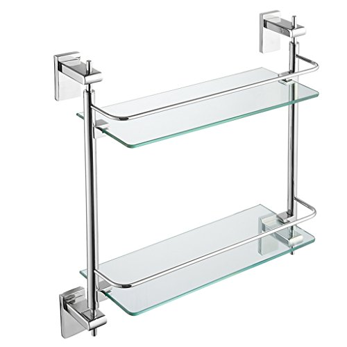 JJJJD 2 Tier Glas Badezimmer Regal, Badezimmer Edelstahl Wand Lagerung Organizer Rack, 42 * 13 * 46 cm (16,5 * 5 * 18 inch) -