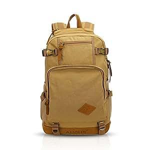 FANDARE Classic Vintage esterna Viaggiare Zaino Trekking College School Daypacks portatile borsa di tela leggero compattabili durevole multifunzionale pieghevole donne e gli uomini Cachi