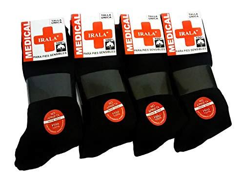 Medical Lot de 6 + 6 = 12 paires de chaussettes pour homme Noir taille 40/46 anti-pression Anti-stress anti-acariens, pieds sensibles, 100 % Fil de Coton
